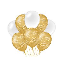 Decoratie Ballon Goud/Wit - Happy birthday