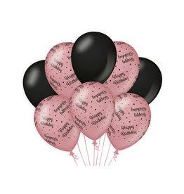 Decoratie Ballon Rosé/Zwart - Happy birthday