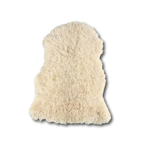 Sheepskin with curl and longhair - White mix