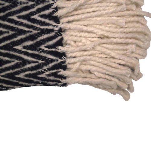 Raaf Raaf - Plaid visgraat zwart-wit 130X170