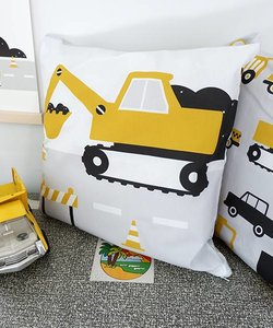 Children's pillow EXCAVATOR | Ocher