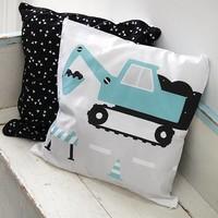 Children's pillow EXCAVATOR | Ocher - Copy