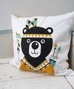 Children's cushion INDIAN BEAR   Ocher