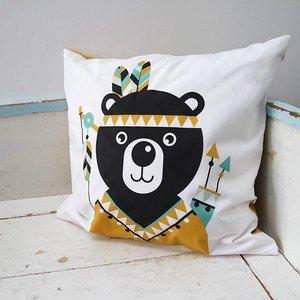 ANNIdesign Kinderkussen INDIAAN BEER | Oker