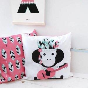 ANNIdesign Kinderkussen INDIAAN AAP | Roze