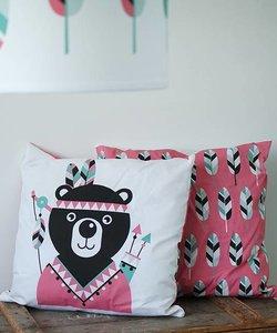 Kinderkussen INDIAAN BEER | Roze