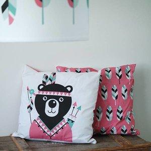 ANNIdesign Kinderkussen INDIAAN BEER | Roze