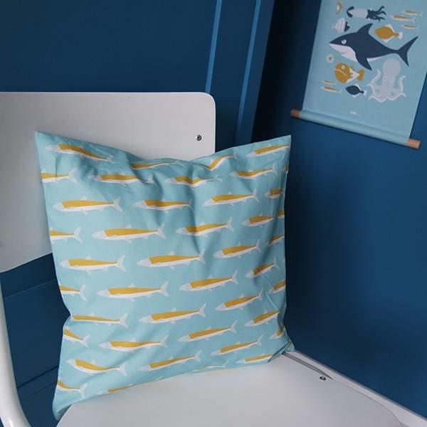 Kinderkussen ONDERWATER | Blauw 40x40 cm