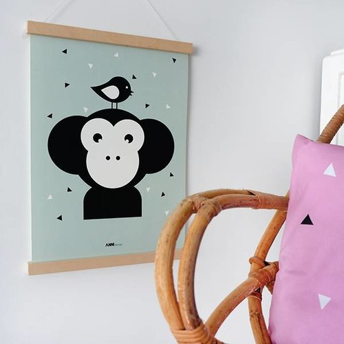 ANNIdesign POSTER MONKEY BABY ROOM | OLD GREEN