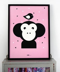 POSTER MONKEY BABY ROOM | PINK
