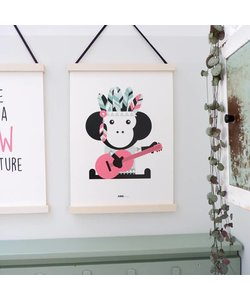 POSTER INDIAN MONKEY PINK
