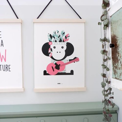 ANNIdesign POSTER INDIAN MONKEY PINK