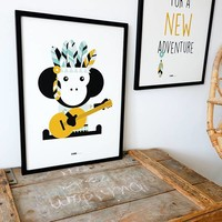 POSTER INDIAN MONKEY PINK - Copy