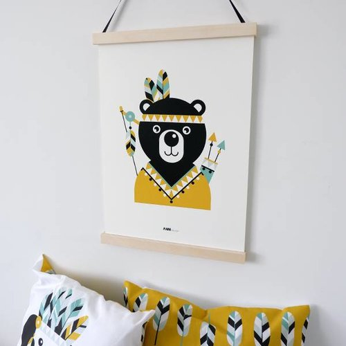 ANNIdesign POSTER INDIAN BEAR OCHER