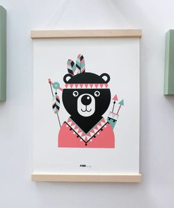 POSTER INDIAN BEAR PINK