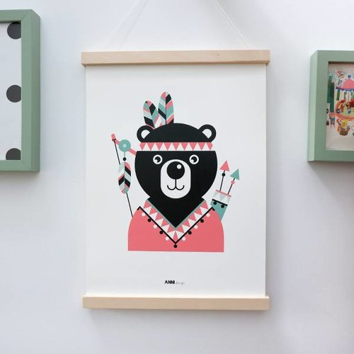 ANNIdesign POSTER INDIAN BEAR PINK