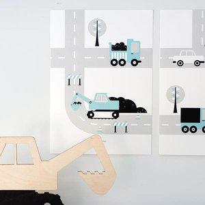 ANNIdesign POSTER VOERTUIGEN | GRAAFMACHINE BLAUW