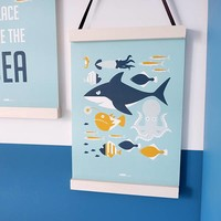 POSTER UNDERWATER FISH BLUE