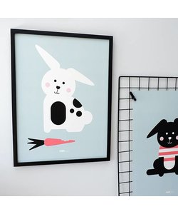 POSTER RABBIT WITH CARROT | OLD GREEN - Copy