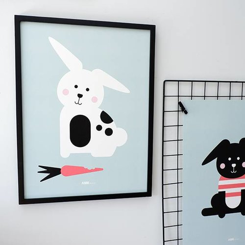 ANNIdesign POSTER RABBIT WITH CARROT | OLD GREEN - Copy