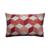 Outdoor throw pillow cover Block red