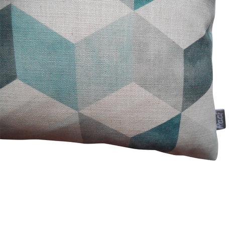 Raaf Outdoor throw pillow cover Petrol block 40x60 cm