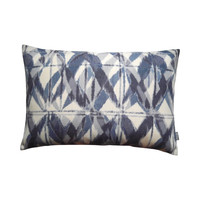 Outdoor throw pillow cover Batik blue