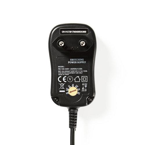 Universele AC-voedingsadapter | 3/4,5/5/6/7,5/9/12 V DC | 1,0 A