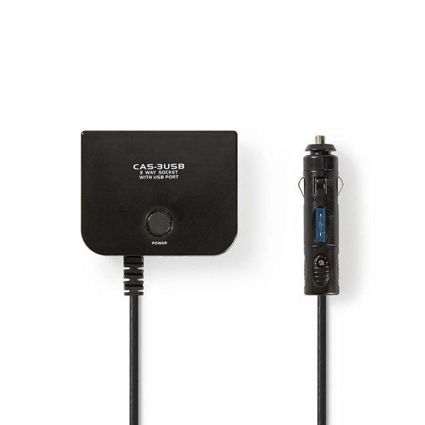 Universele DC-voedingsadapter | 5/12 V DC | Autolader/USB | 3-weg