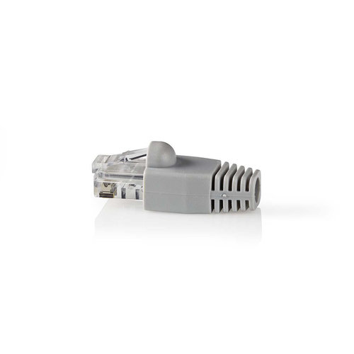 Set Cat 6 UTP-netwerkconnectoren | RJ45 male - Vrije trekontlasting | 10 stuks | Grijs