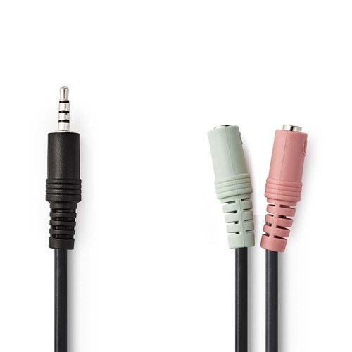Audiokabel Headset | 3,5 mm Male - 2x 3,5 mm Female | 0,2 m | Zwart