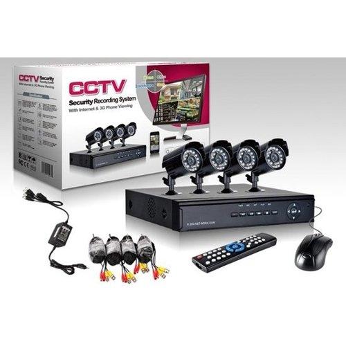 CCTV camerasysteem 4 Camera's + DVR voor internet en telefoon - Zwart