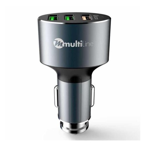 Multiline Xtreme 3X Car Charger - 6.6A / 36W - incl. Lightning USB Cable