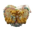 Cherished Teddies Boy and Girl Bears Heart Basket