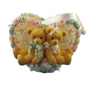 Cherished Teddies  Boy and Girl Bears Heart Basket