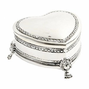 The Juliana Collection, Antique Silverplated Trinket box (Heart with feet)