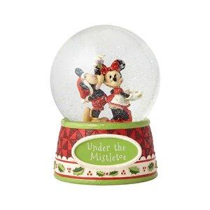 Disney Traditions Mickey & Minnie Under the Mistletoe Snowglobe