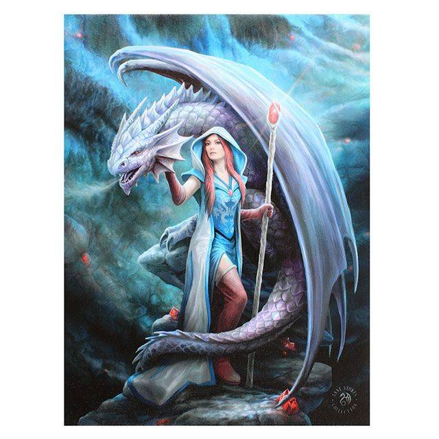 Dragon Mage Anne Stokes19x25 Canvas Friends 2 Hold On