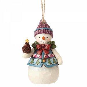 Jim Shore's Heartwood Creek Mini Snowman with Pinecones  (HO)