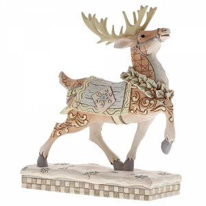 Jim Shore's Heartwood Creek Dashing To Deliver (White Woodland Reindeer Prance)