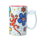 Barcino Design Mug XL Salamander-Flowers (Hydraulic) RED