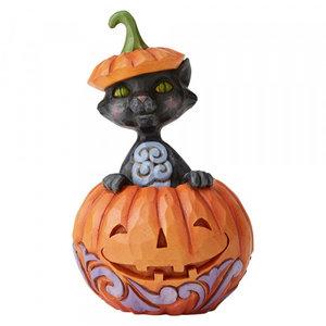 Jim Shore's Heartwood Creek Cat Popping Out of Pumpkin (Mini)