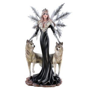 """Studio Collection Dark Fairy """"Cristallupa""""  with  2 Wolves"""