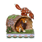 "Disney Traditions The Fox and the Hound Peeking in Log "" Unlikely Friends"""