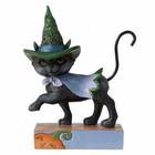 Jim Shore's Heartwood Creek Walking Black Cat with Witch's Hat (Mini Fig.)
