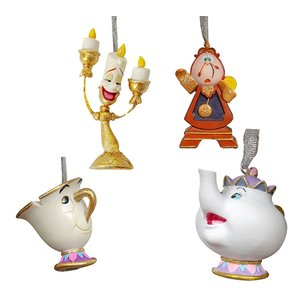 Disney Magical Moments Beauty the Beast 3D Hanging Ornament (HO) SET/4