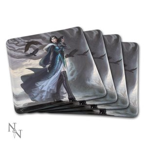 Anna Steinbauer Glass Coaster Raven (Set of 4)