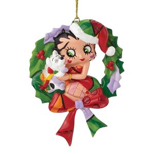 Britto Betty Boop Betty Boop and Pudgy Wreath Hanging Ornament