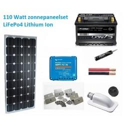 110 Watt zonnepaneel set LiFePo4 75 Ah