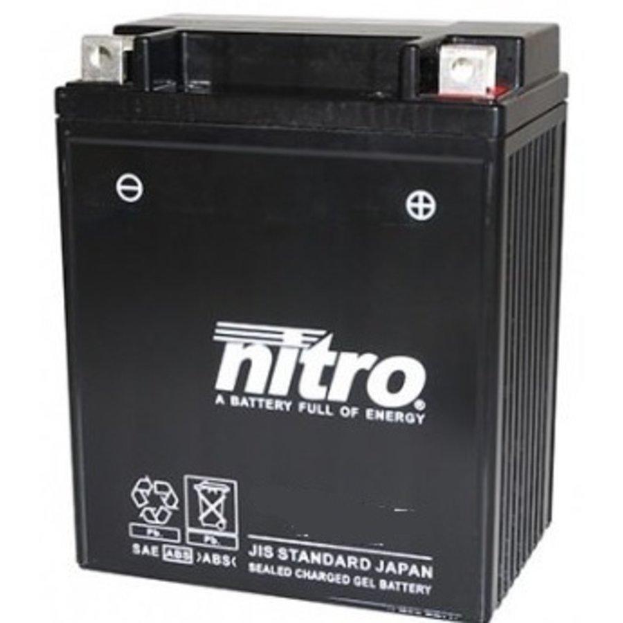 Nitro Gel accu 12 Volt 12 Ah + pool rechts YB12AL-A2